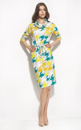 Sukienka podkreślająca talię z golfem - pepitko