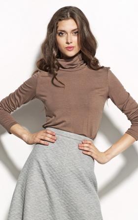 Elegancka bluzka z golfem - mocca
