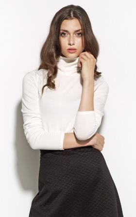Elegancka bluzka z golfem- ecru