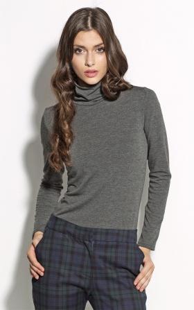 Elegancka bluzka z golfem - szary