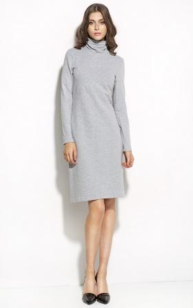 Elegancka sukienka z golfem - szary