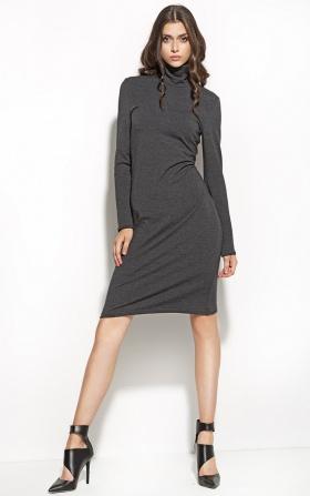 Elegancka sukienka z golfem - grafit