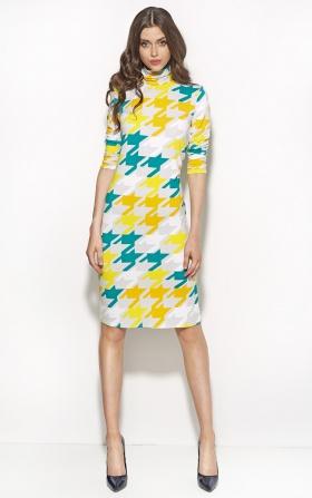 Elegancka sukienka z golfem - pepitko