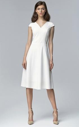 Ecru sukienka bez rękawów MIDI