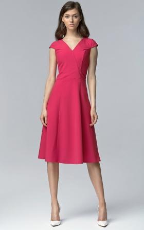 Sukienka bez rękawów MIDI w kolorze fuksji