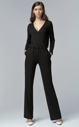 Jumpsuit with long sleeves - black