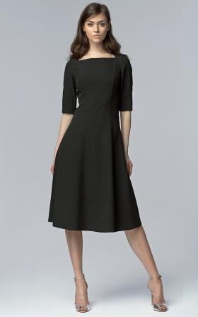 Elegancka czarna sukienka MIDI
