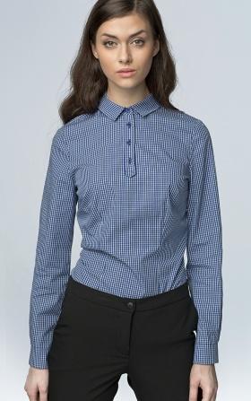 Modna koszula z długim rękawem - granat/kratka