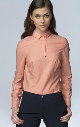 Modna koszula z długim rękawem - łosoś