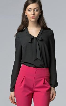 Delikatna czarna bluzka z wiązaniem na dekolcie