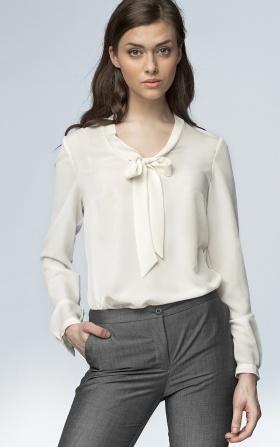 Delikatna bluzka z wiązaniem na dekolcie - ecru