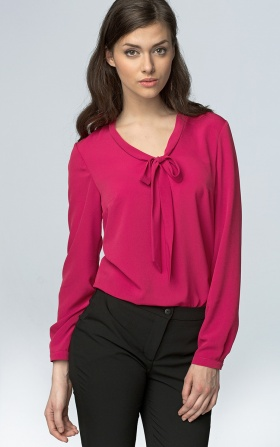 Delicate blouse with a binding on the neckline - fuchsia