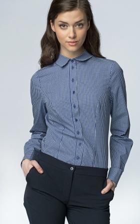 Klasyczna taliowana koszula - granat/kratka