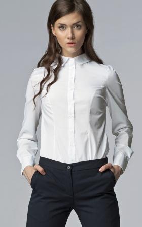 Biała taliowana koszula damska