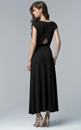 Czarna sukienka MAXI z rozcięciem