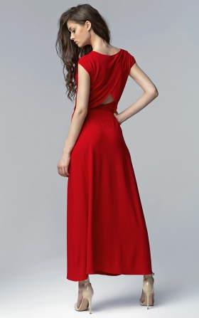 Dress MAXI with a slit - red