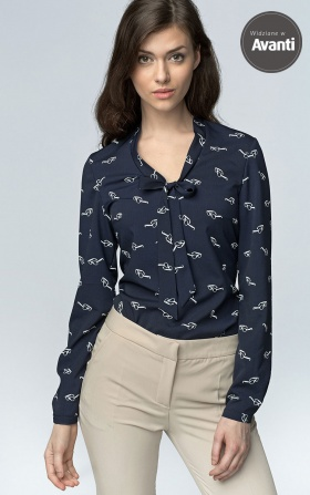 Delicate blouse with a binding on the neckline - glasses/navy blue