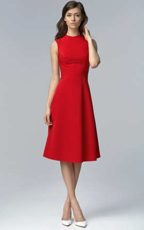 Czerwona elegancka sukienka MIDI