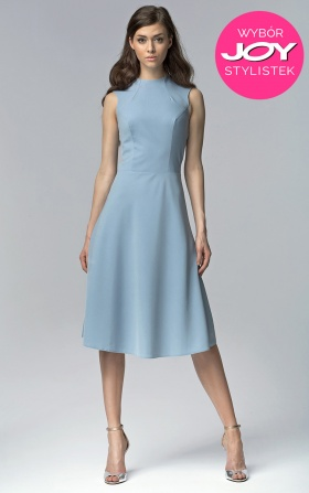 Niebieska elegancka sukienka MIDI