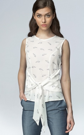 Sleeveless blouse - glasses/ecru