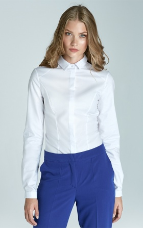 Taliowana klasyczna koszula - biały