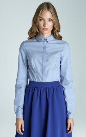 Taliowana klasyczna koszula - błękit