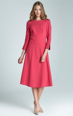 Midi trapezoidal dress - fuchsia