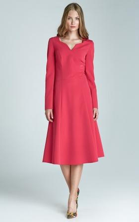 Klasyczna sukienka z długim rękawem - fuksja