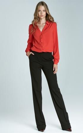 Spodnie bootcut z mankietem - czarny