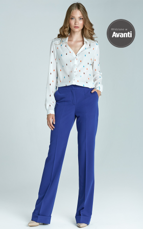 Bootcut trousers with cuff - blue