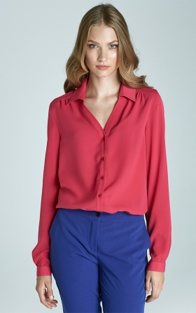 Blouse with a collar and a V-neck - fuchsia