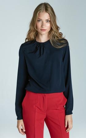 Granatowa bluzka z plisami na dekolcie