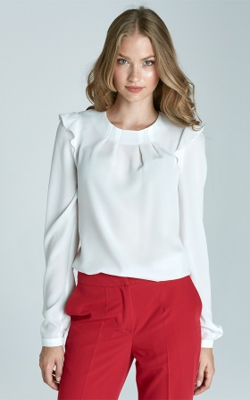 Blouse with ruffles on the shoulders - ecru