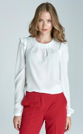 Bluzka z falbankami na ramionach - ecru