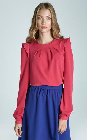 Bluzka z falbankami na ramionach w kolorze fuksji