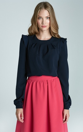 Blouse with ruffles on the shoulders - navy blue