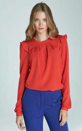 Pomarańczowa bluzka z falbankami na ramionach