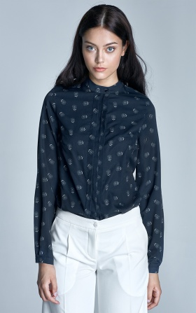 Blouse with pleats at the neckline - navy/white