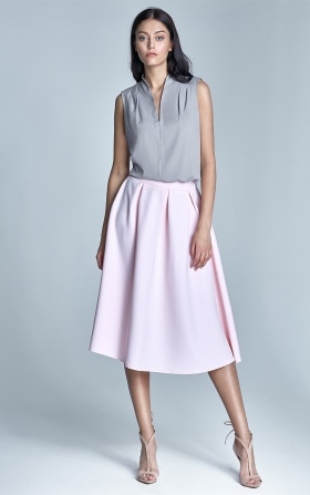 MIDI skirt with pockets - pink