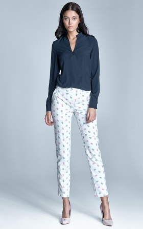 Eleganckie spodnie z oryginalnym zapięciem - ecru/róż