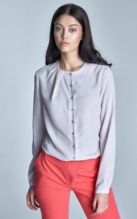 Zapinana beżowa bluzka z marszczeniem na dekolcie