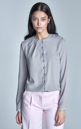 Buttoned blouse with creases on the neckline - gray