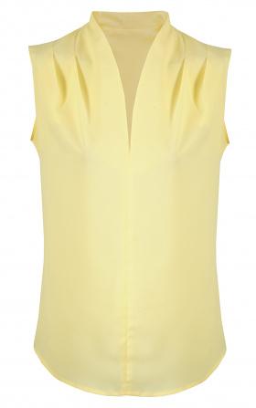 Bluzka z subtelnym dekoltem w literę V i marszczeniem na ramionach - żółty