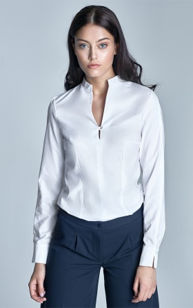 Shirt with stand-up collar - white