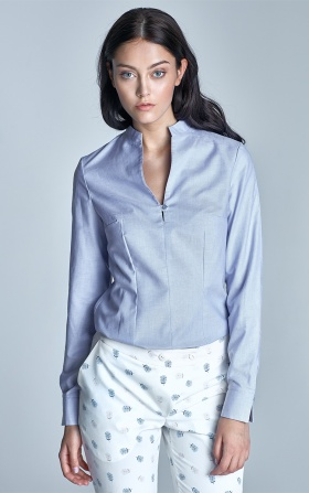 Shirt with stand-up collar - blue