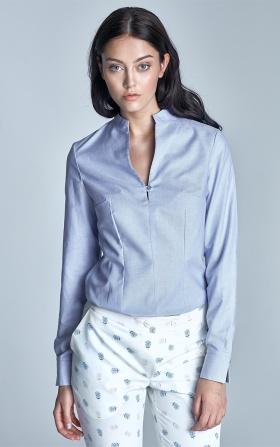 Koszula ze stójką  - niebieski