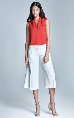 Spodnie culottes w kolorze ecru