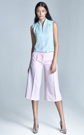 Jasnoróżowe spodnie culottes
