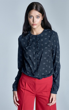 Buttoned blouse with creases on the neckline - navy/white