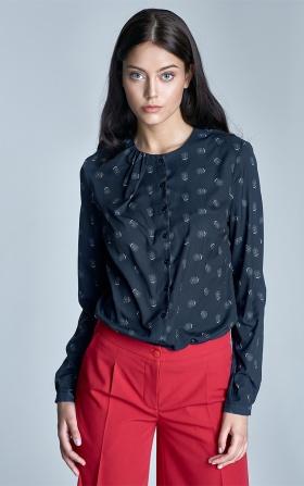 Granatowa bluzka z marszczeniem na dekolcie